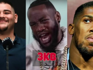 Andy Ruiz, Deontay Wilder and Anthony Joshua