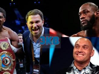Anthony Joshua With Eddie Hearn, Deontay Wilder and Tyson Fury