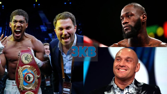 Anthony Joshua With Eddie Hearn, Deontay Wilder and Tyson Fury