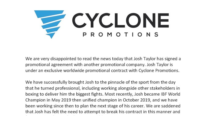 Statement by Cyclone Promotions