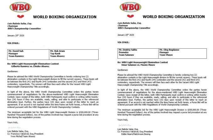 WBO Light Heavyweight Tournament Proposals