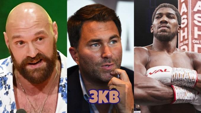 Tyson Fury, Eddie Hearn and Anthony Joshua