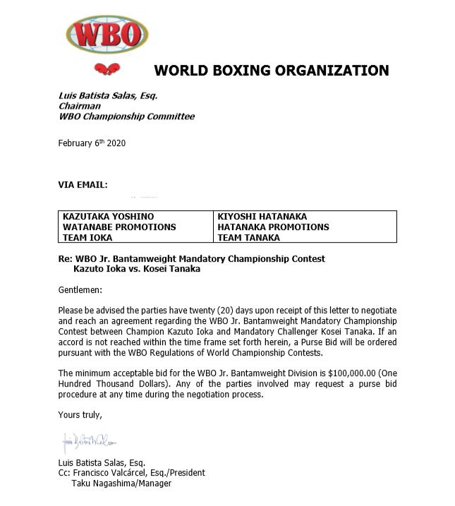 WBO Letter Ordering Tanaka v Ioka