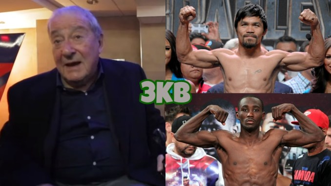 Bob Arum (left), Manny Pacquiao (top), Terence Crawford