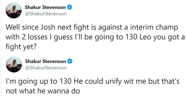 Shakur Stevenson announces move to 130