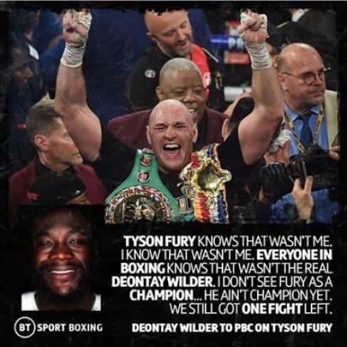 Deontay Wilder Claims He Wasn't Himself In The Rematch