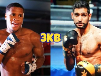 Devin Haney (left), Amir Khan