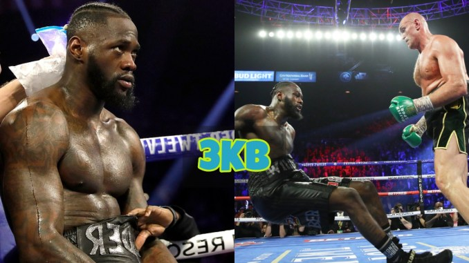 Deontay Wilder and Wilder knocked down by Tyson Fury