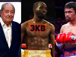Bob Arum (left), Terence Crawford (center), Manny Pacquiao