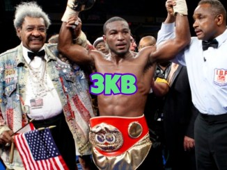 Don King celebrates a victory with Tavoris Cloud