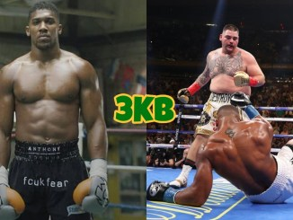 Anthony Joshua (left), Andy Ruiz knocks down Anthony Joshua in their June 2019 title fight