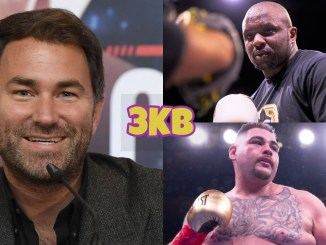 Eddie Hearn (left), Dillian Whyte (top), Andy Ruiz