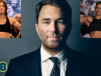 Eddie Hearn (center), Katie Taylor (left), Amanda Serrano