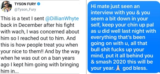 Tyson Fury shares a motivational message he sent to Dillian Whyte in 2019