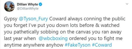 Dillian Whyte responds to Tyson Fury claiming he will annihilate him
