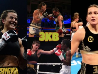 Chantelle Cameron, Katie Taylor watch Cameron's fight highlights