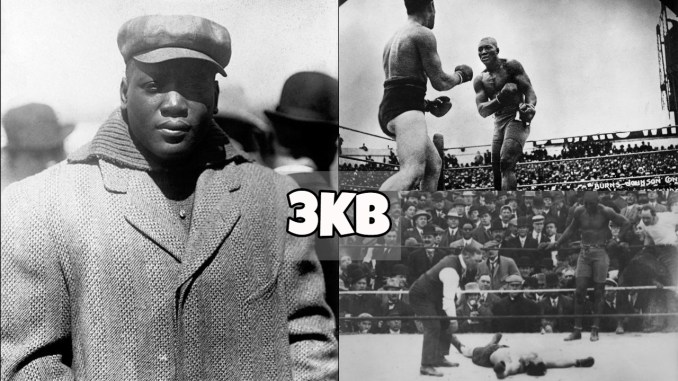 Jack Johnson dressed in coat, standing toe-to-toe and scoring a knockout