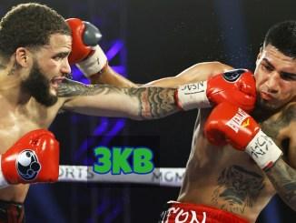 Josue Vargas lands a straight left hand on Salvador Briceno