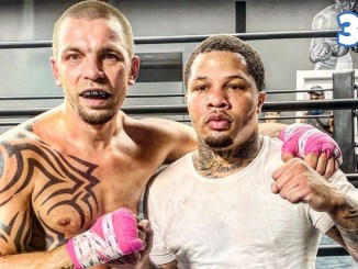 Ivan Redkach (left) with Gervonta Davis following a four-round sparring session