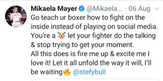 Mikaela Mayer goes at the trainer of Terri Harper