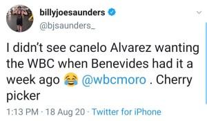 Billy Joe Saunders calls Canelo Alvarez a cherry picker