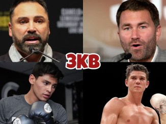 (clockwise from top left) Oscar De La Hoya, Eddie Hearn, Luke Campbell, Ryan Garcia