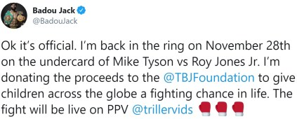 Badou Jack announces return on the undercard of Mike Tyson v Roy Jones Jr
