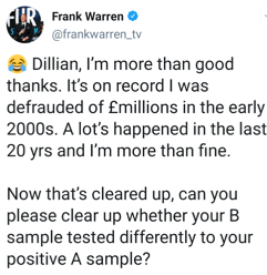 Frank Warren brings up the situation with Dillian Whyte's B sample