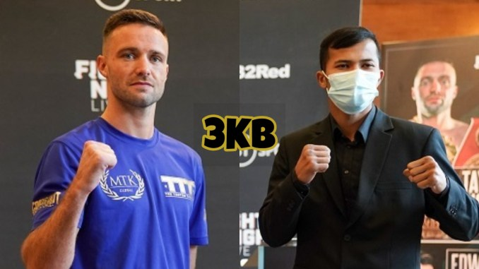 Josh Taylor (left) and Apinun Khongsong at the final presser before fight night