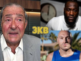 Bob Arum (left), Deontay Wilder (top), Tyson Fury