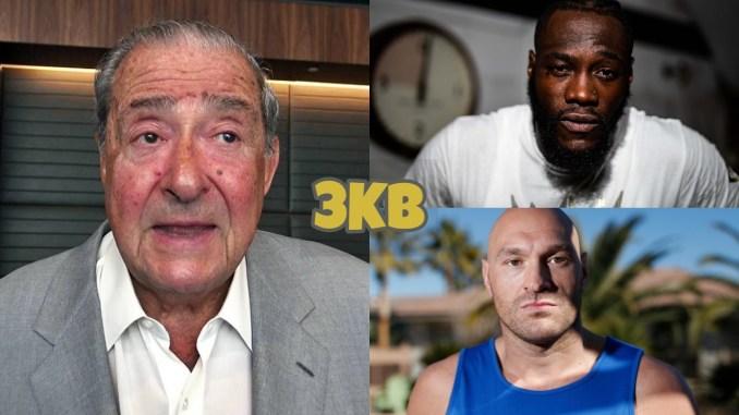Bob Arum (left), Deontay Wilder (top), Tyson Fury