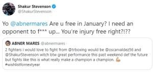 Shakur Stevenson calls out Abner Mares