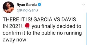 Ryan Garcia says match with Gervonta Davis is confirmed