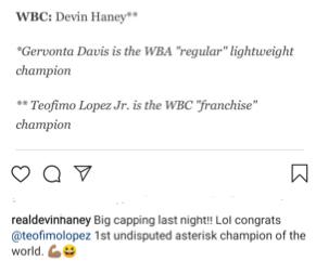 Devin Haney mocks Teofimo Lopez as the asterisk champion