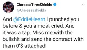 Claressa Shields accepts the challenge issued by Eddie Hearn