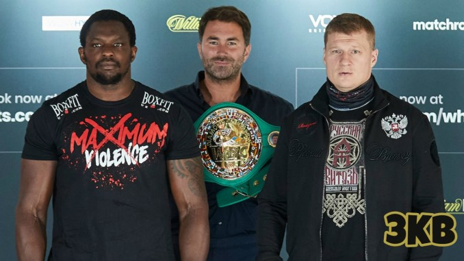 Dillian Whyte (left), Eddie Hearn (center), and Alexander Povetkin ahead of their August 22 match-up
