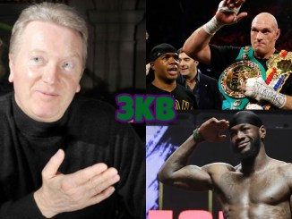 Frank Warren (left), Tyson Fury (top), Deontay Wilder
