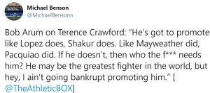 Bob Arum frustrated with Terence Crawford not promoting fights