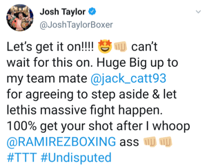 Josh Taylor thanks Jack Catterall for stepping-aside