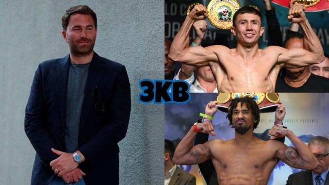 Eddie Hearn (left), Gennady Golovkin (top), Demetrius Andrade