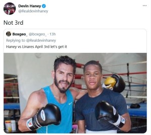 Devin Haney fuels speculation that Jorge Linares is his next opponent