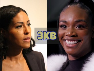 Cecila Braekhus scowls at Claressa Shields who smiles back