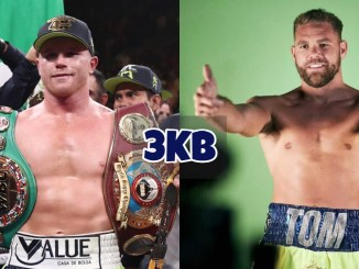 "Canelo Alvarez shows off his belts; Billy Joe Saunders gives the camera a ""thumbs-up"""