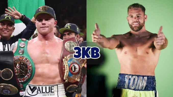 """Canelo Alvarez shows off his belts; Billy Joe Saunders gives the camera a """"thumbs-up"""""""