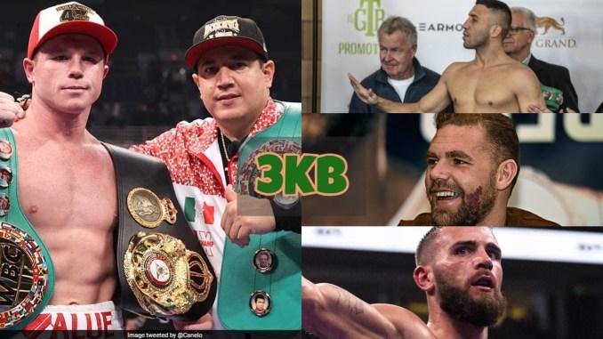 Canelo Alvarez with the WBC and WBA titles; Avini Yildirim says no; Billy Joe Saunders laughs; Caleb Plant celebrates victory