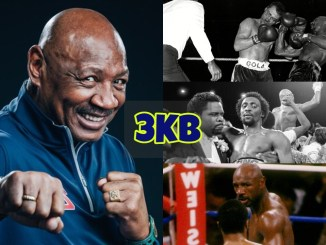 Marvin Hagler poses for the camera; Hagler lands an uppercut on Alan Minter; Thomas Hearns carried out of the ring after being knockout out by Hagler; Hager stares down Sugar Ray Leonard