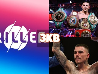 Triller logo; Teofimo Lopez shows off his belts; George Kambosos Jnr celebrates a win