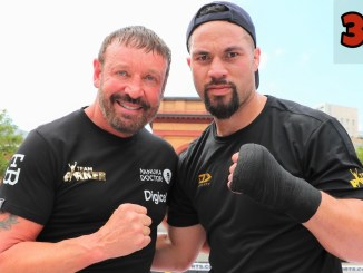 Kevin Barry poses with boxer Joseph Parker (right)
