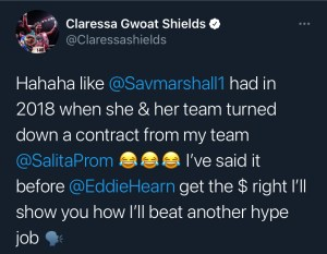 Claressa Shields reiterates she will fight Savannah Marshall for the right price