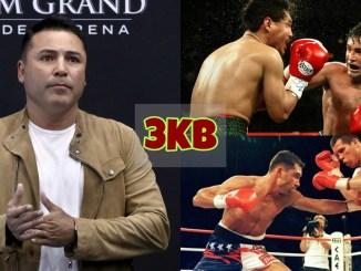 An older Oscar De La Hoya addresses the media; A younger De La Hoya's fight highlights.